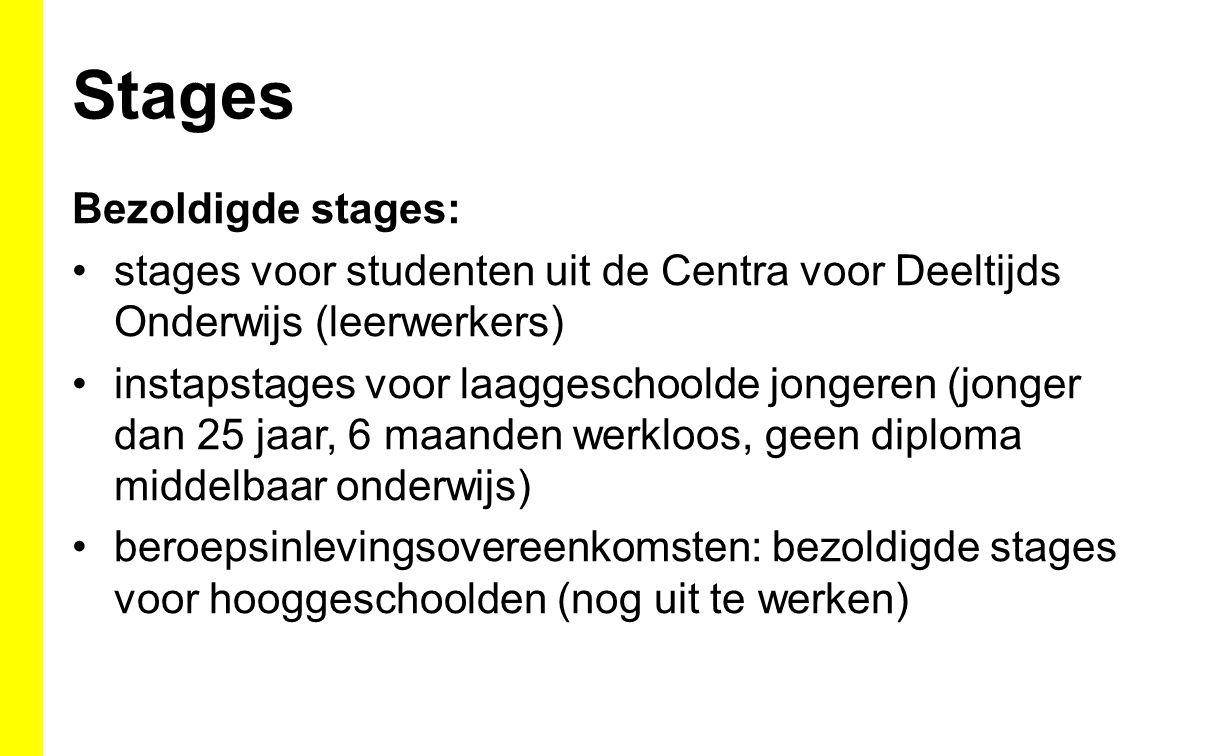 Stages Bezoldigde stages: stages voor studenten uit de Centra voor Deeltijds Onderwijs (leerwerkers) instapstages voor laaggeschoolde jongeren (jonger dan 25 jaar, 6 maanden werkloos, geen diploma middelbaar onderwijs) beroepsinlevingsovereenkomsten: bezoldigde stages voor hooggeschoolden (nog uit te werken)