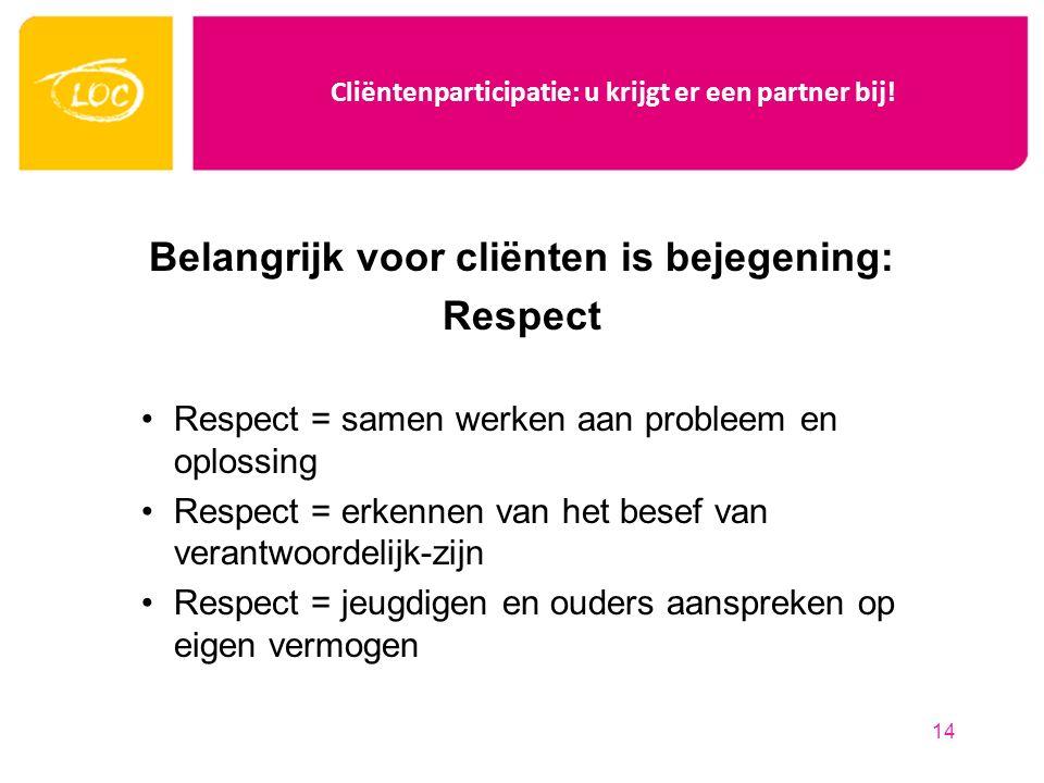 Cliëntenparticipatie: u krijgt er een partner bij! Belangrijk voor cliënten is bejegening: Respect Respect = samen werken aan probleem en oplossing Re