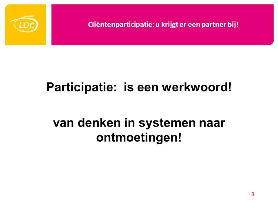 Cliëntenparticipatie: u krijgt er een partner bij! Participatie: is een werkwoord! van denken in systemen naar ontmoetingen! 18