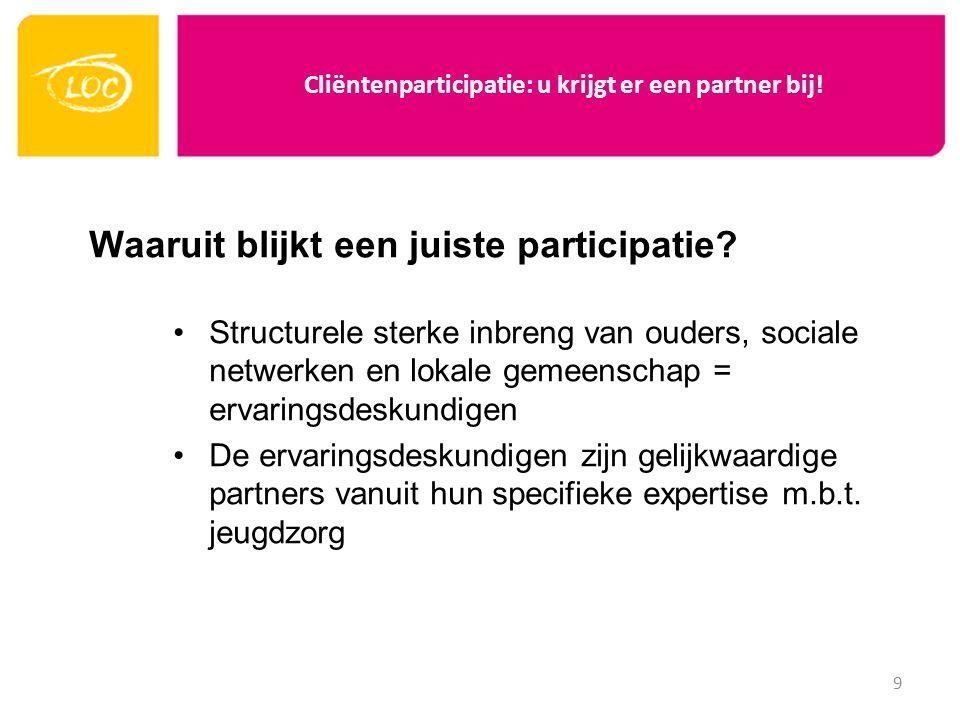 Cliëntenparticipatie: u krijgt er een partner bij! Waaruit blijkt een juiste participatie? Structurele sterke inbreng van ouders, sociale netwerken en