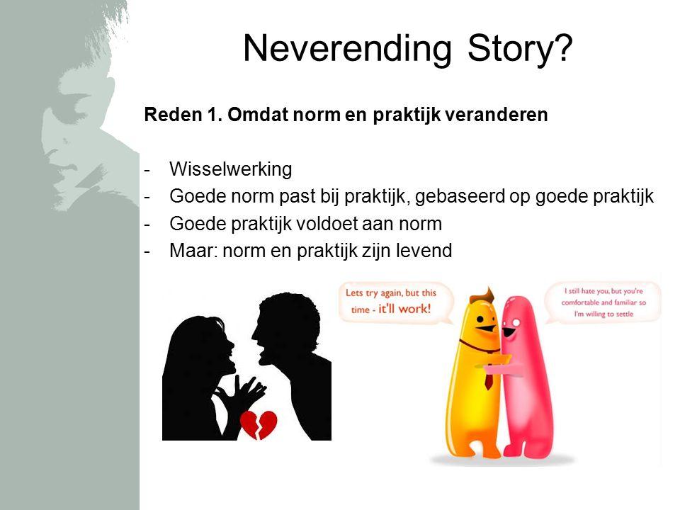Neverending Story? Reden 1. Omdat norm en praktijk veranderen -Wisselwerking -Goede norm past bij praktijk, gebaseerd op goede praktijk -Goede praktij