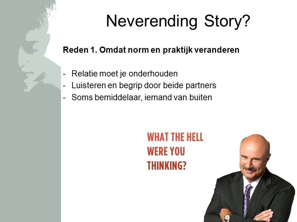Praktijk Norm Neverending Story? Reden 1. Omdat norm en praktijk veranderen -Relatie moet je onderhouden -Luisteren en begrip door beide partners -Som