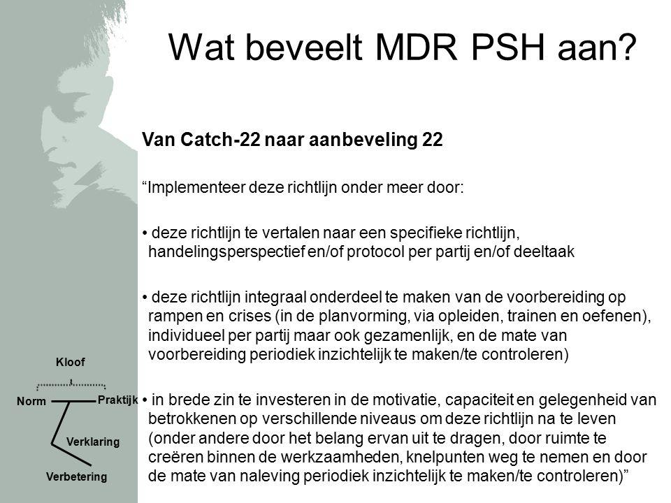 """Wat beveelt MDR PSH aan? Van Catch-22 naar aanbeveling 22 """"Implementeer deze richtlijn onder meer door: deze richtlijn te vertalen naar een specifieke"""