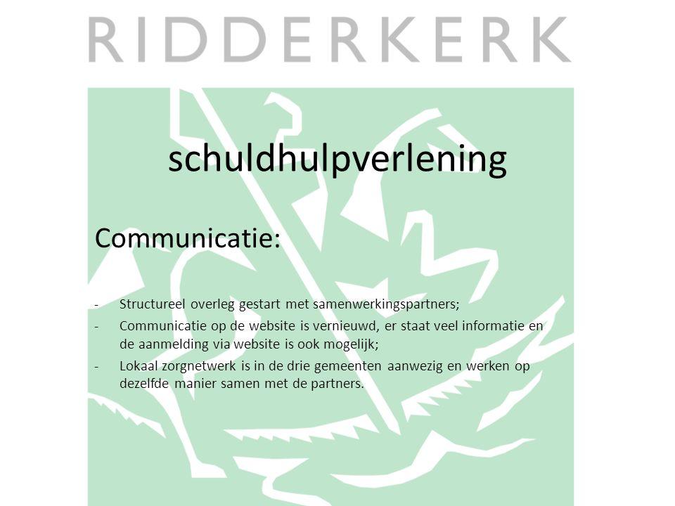 schuldhulpverlening Communicatie: -Structureel overleg gestart met samenwerkingspartners; -Communicatie op de website is vernieuwd, er staat veel info