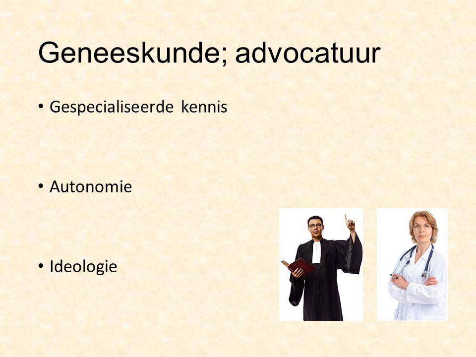 Geneeskunde; advocatuur Gespecialiseerde kennis Autonomie Ideologie
