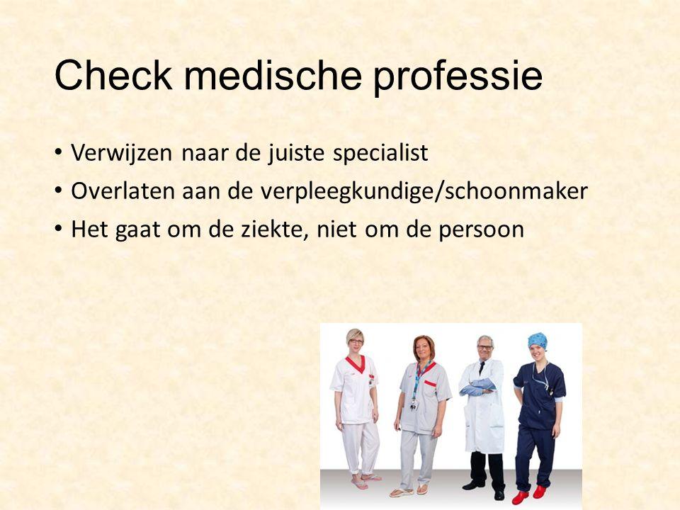 Check medische professie Verwijzen naar de juiste specialist Overlaten aan de verpleegkundige/schoonmaker Het gaat om de ziekte, niet om de persoon