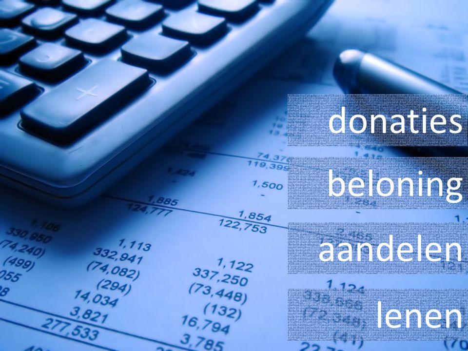 donaties beloning aandelen lenen