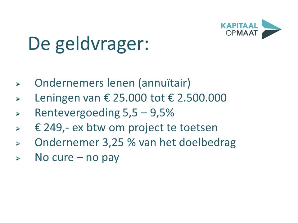 Ondernemers lenen (annuïtair) Leningen van € 25.000 tot € 2.500.000 Rentevergoeding 5,5 – 9,5% € 249,- ex btw om project te toetsen Ondernemer 3,25 %