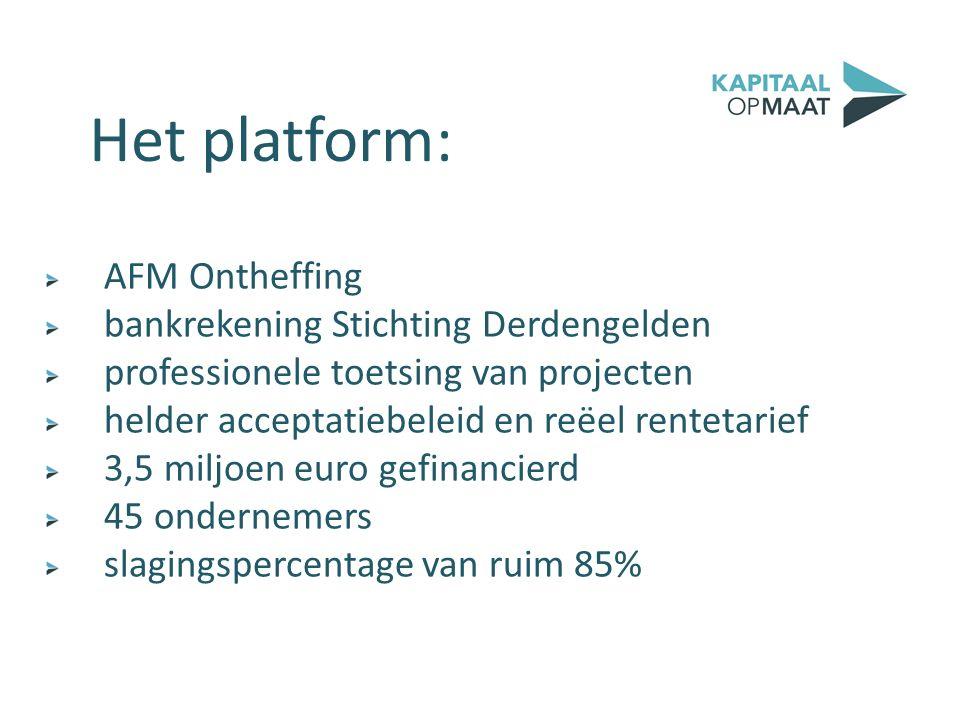 AFM Ontheffing bankrekening Stichting Derdengelden professionele toetsing van projecten helder acceptatiebeleid en reëel rentetarief 3,5 miljoen euro