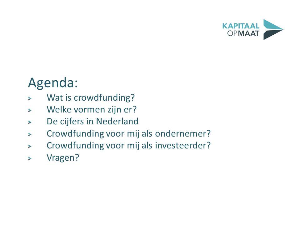 Agenda: Wat is crowdfunding? Welke vormen zijn er? De cijfers in Nederland Crowdfunding voor mij als ondernemer? Crowdfunding voor mij als investeerde