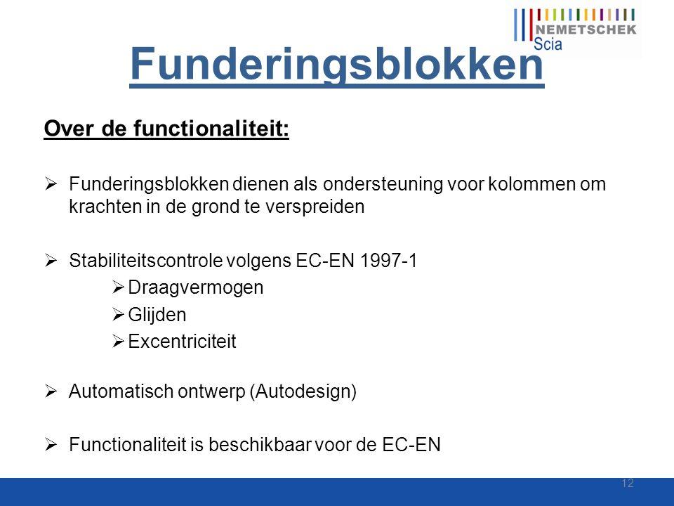 Funderingsblokken Over de functionaliteit:  Funderingsblokken dienen als ondersteuning voor kolommen om krachten in de grond te verspreiden  Stabili