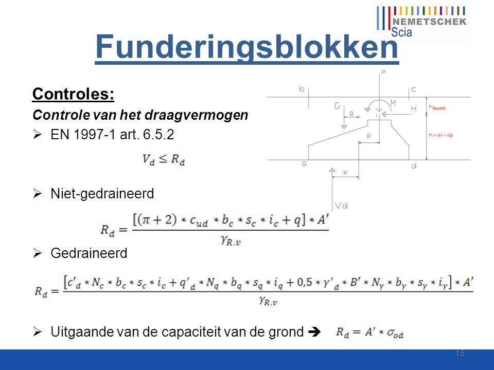 Funderingsblokken Controles: Controle van het draagvermogen  EN 1997-1 art. 6.5.2  Niet-gedraineerd  Gedraineerd  Uitgaande van de capaciteit van
