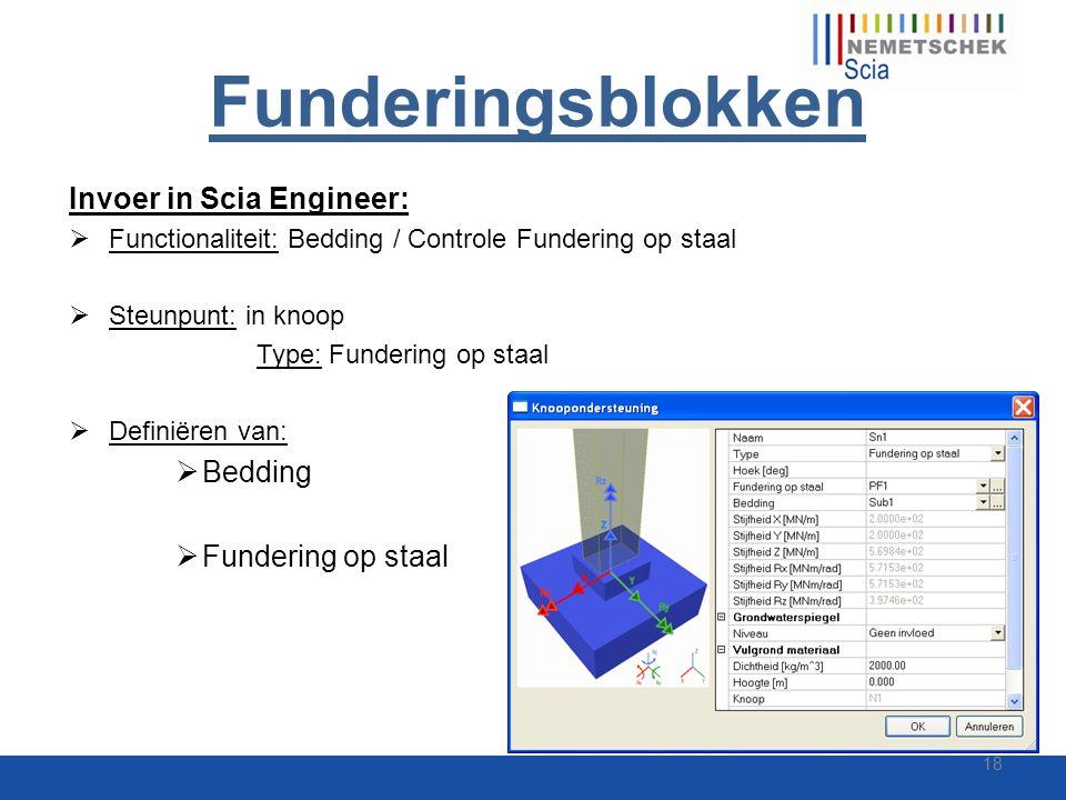 Funderingsblokken Invoer in Scia Engineer:  Functionaliteit: Bedding / Controle Fundering op staal  Steunpunt: in knoop Type: Fundering op staal  D