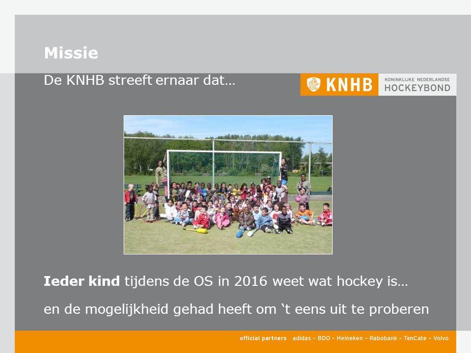 Missie De KNHB streeft ernaar dat… Ieder kind tijdens de OS in 2016 weet wat hockey is… en de mogelijkheid gehad heeft om 't eens uit te proberen