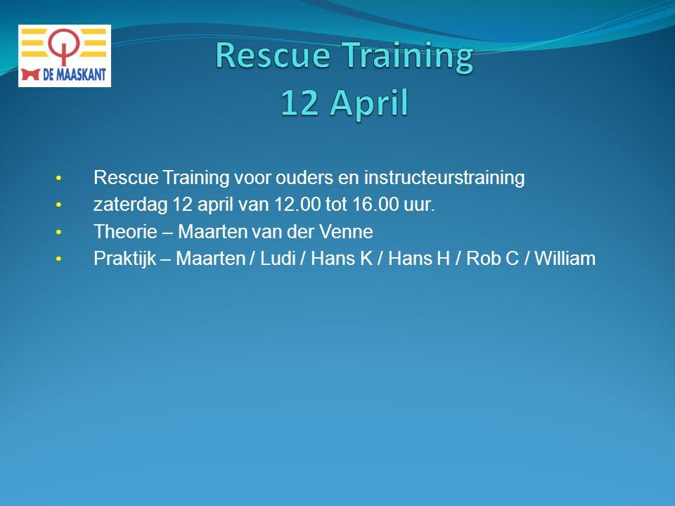 Rescue Training voor ouders en instructeurstraining zaterdag 12 april van 12.00 tot 16.00 uur. Theorie – Maarten van der Venne Praktijk – Maarten / Lu