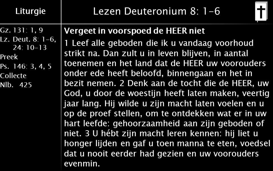 Gz.131: 1, 9 Lz.Deut. 8: 1-6, 24: 10-13 Preek Ps.146: 3, 4, 5 Collecte Nlb.425 Liturgie Lezen Deuteronium 8: 1-6 Vergeet in voorspoed de HEER niet 1 L