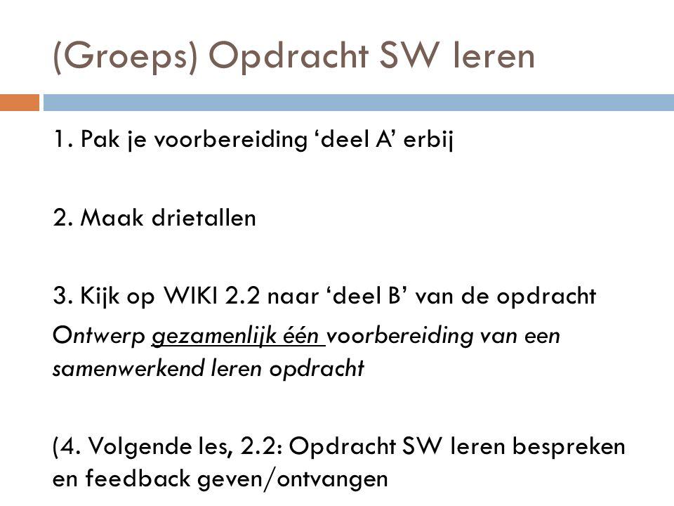 (Groeps) Opdracht SW leren 1. Pak je voorbereiding 'deel A' erbij 2. Maak drietallen 3. Kijk op WIKI 2.2 naar 'deel B' van de opdracht Ontwerp gezamen