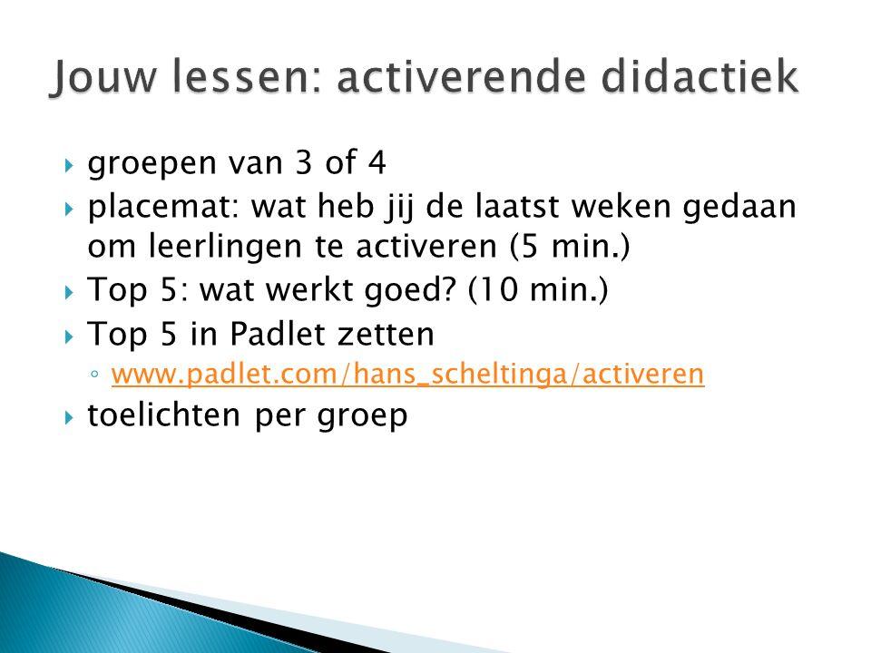  groepen van 3 of 4  placemat: wat heb jij de laatst weken gedaan om leerlingen te activeren (5 min.)  Top 5: wat werkt goed? (10 min.)  Top 5 in