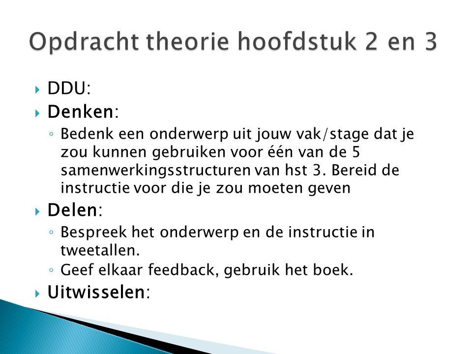  DDU:  Denken: ◦ Bedenk een onderwerp uit jouw vak/stage dat je zou kunnen gebruiken voor één van de 5 samenwerkingsstructuren van hst 3. Bereid de
