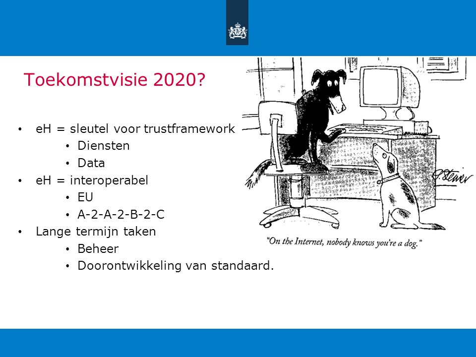 Toekomstvisie 2020? eH = sleutel voor trustframework Diensten Data eH = interoperabel EU A-2-A-2-B-2-C Lange termijn taken Beheer Doorontwikkeling van