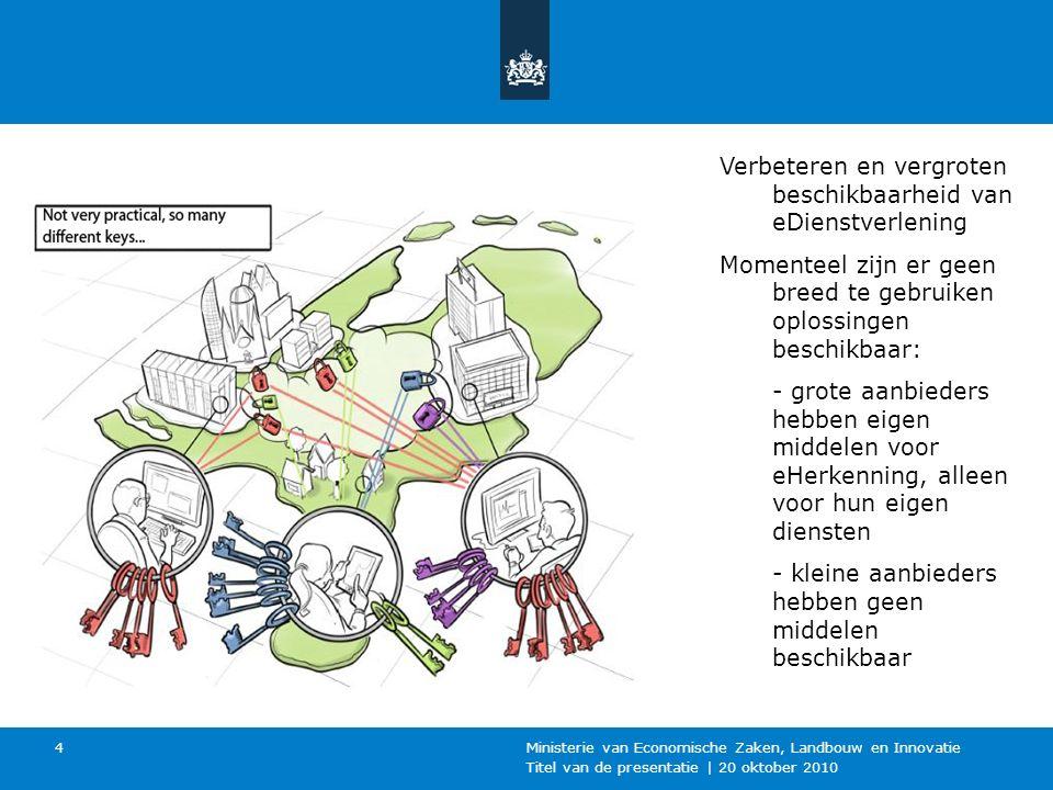 Titel van de presentatie | 20 oktober 2010 Ministerie van Economische Zaken, Landbouw en Innovatie 4 Verbeteren en vergroten beschikbaarheid van eDien