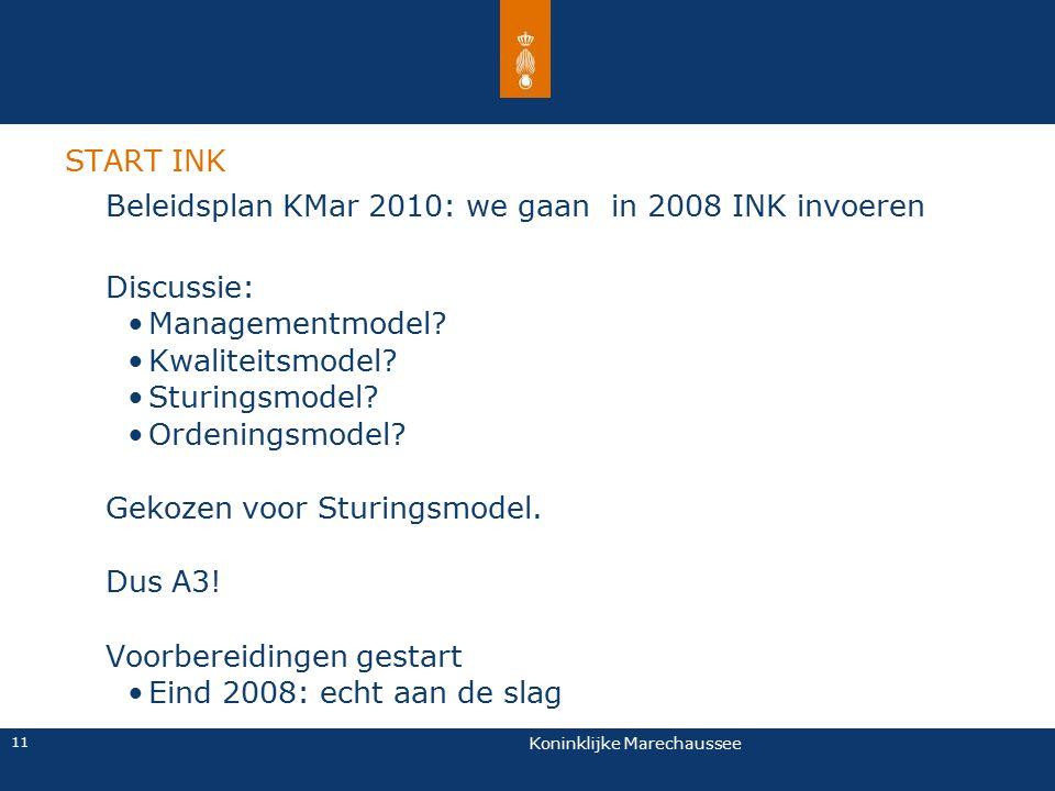 Koninklijke Marechaussee 11 Beleidsplan KMar 2010: we gaan in 2008 INK invoeren Discussie: Managementmodel? Kwaliteitsmodel? Sturingsmodel? Ordeningsm