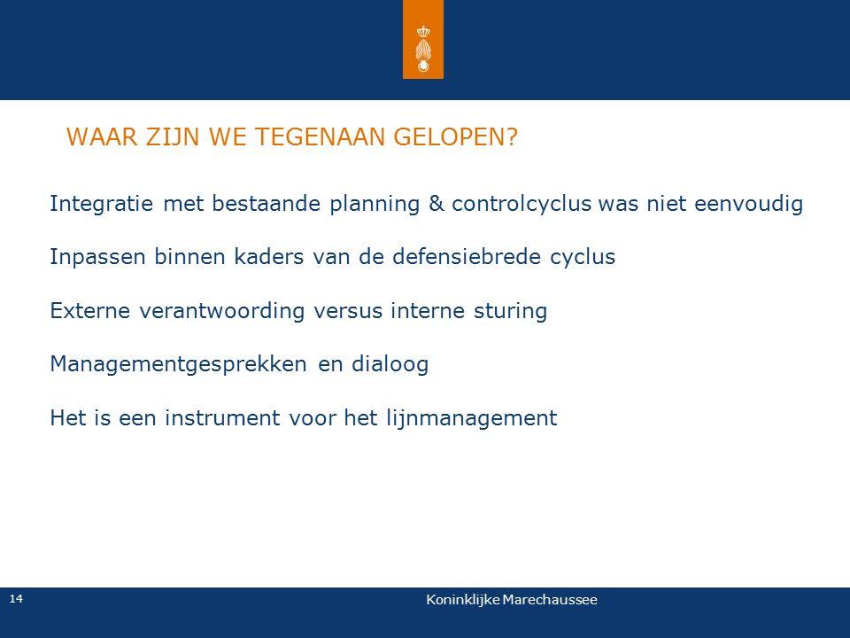 Koninklijke Marechaussee 14 WAAR ZIJN WE TEGENAAN GELOPEN? Integratie met bestaande planning & controlcyclus was niet eenvoudig Inpassen binnen kaders