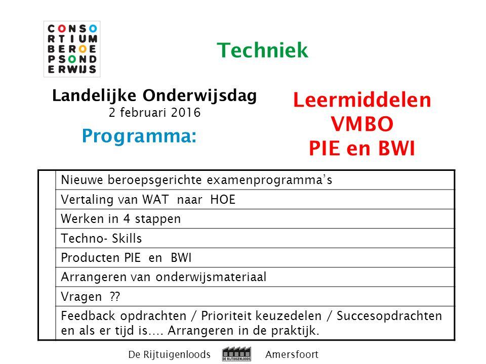 Programma: Nieuwe beroepsgerichte examenprogramma's Vertaling van WAT naar HOE Werken in 4 stappen Techno- Skills Producten PIE en BWI Arrangeren van onderwijsmateriaal Vragen .