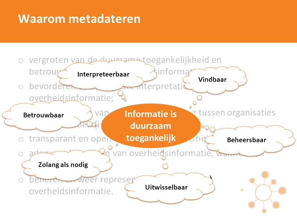 Waarom metadateren o vergroten van de duurzame toegankelijkheid en betrouwbaarheid van overheidsinformatie; o bevorderen van een juiste interpretatie van overheidsinformatie; o mogelijk maken van gegevensuitwisseling tussen organisaties en/of systemen (interoperabiliteit); o transparant en openbaar maken van overheidsinformatie o adequaat beveiligen van overheidsinformatie, wanneer en waar het moet; o beheren en weer representeren van (digitale) overheidsinformatie.