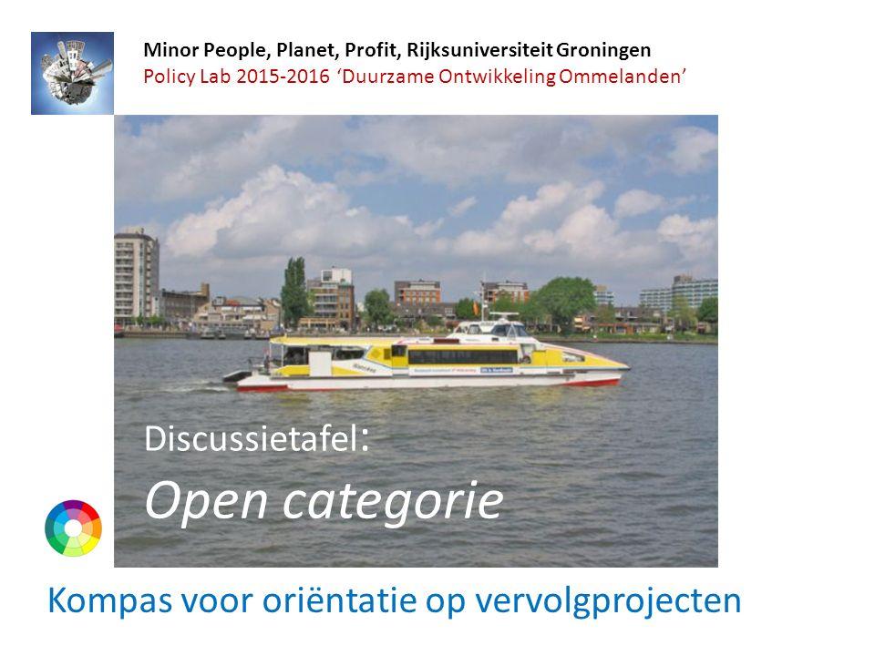 Kompas voor oriëntatie op vervolgprojecten Minor People, Planet, Profit, Rijksuniversiteit Groningen Policy Lab 2015-2016 'Duurzame Ontwikkeling Ommelanden' Discussietafel : Open categorie