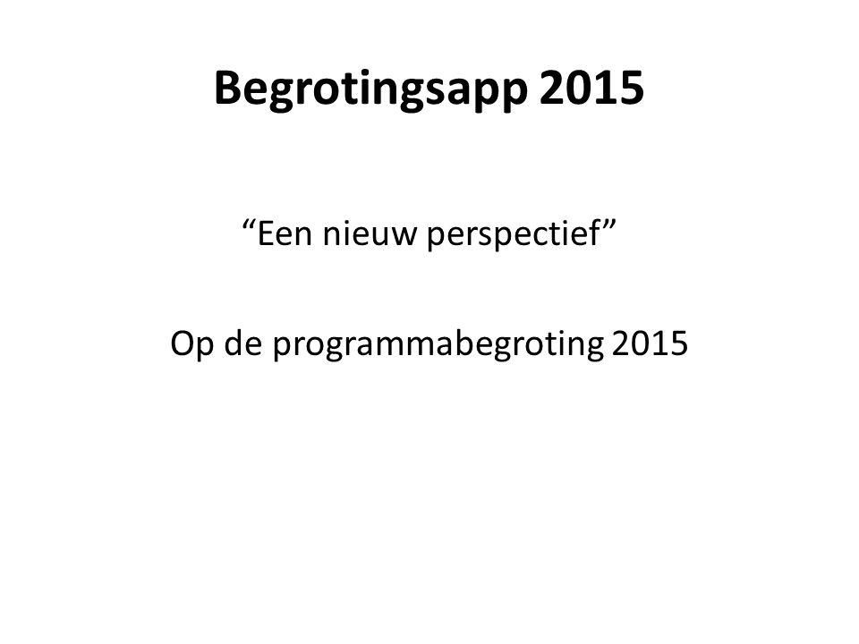 """Begrotingsapp 2015 """"Een nieuw perspectief"""" Op de programmabegroting 2015"""