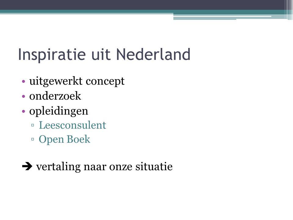 Inspiratie uit Nederland uitgewerkt concept onderzoek opleidingen ▫Leesconsulent ▫Open Boek  vertaling naar onze situatie