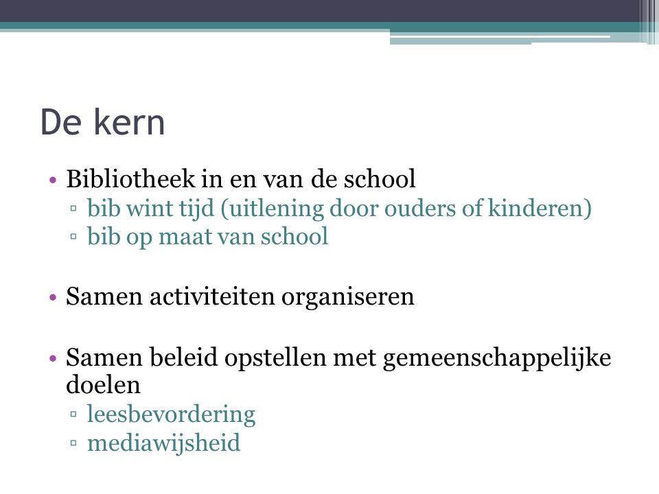 De kern Bibliotheek in en van de school ▫bib wint tijd (uitlening door ouders of kinderen) ▫bib op maat van school Samen activiteiten organiseren Samen beleid opstellen met gemeenschappelijke doelen ▫leesbevordering ▫mediawijsheid