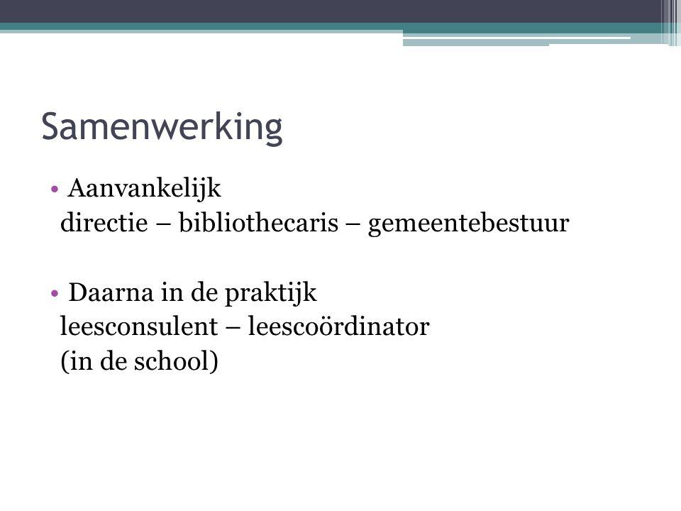 Samenwerking Aanvankelijk directie – bibliothecaris – gemeentebestuur Daarna in de praktijk leesconsulent – leescoördinator (in de school)