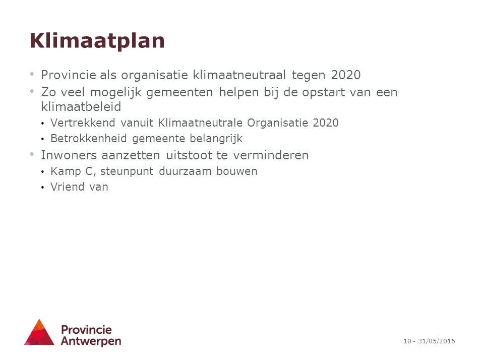 10 - 31/05/2016 Klimaatplan Provincie als organisatie klimaatneutraal tegen 2020 Zo veel mogelijk gemeenten helpen bij de opstart van een klimaatbelei