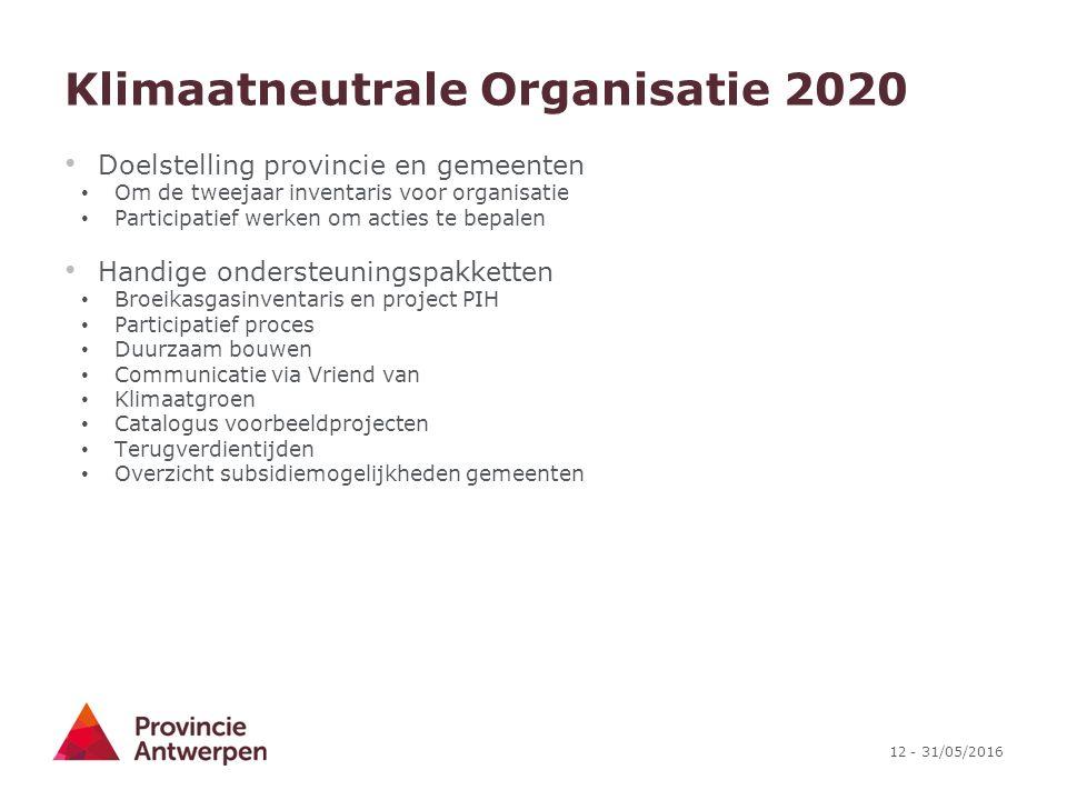 12 - 31/05/2016 Klimaatneutrale Organisatie 2020 Doelstelling provincie en gemeenten Om de tweejaar inventaris voor organisatie Participatief werken o