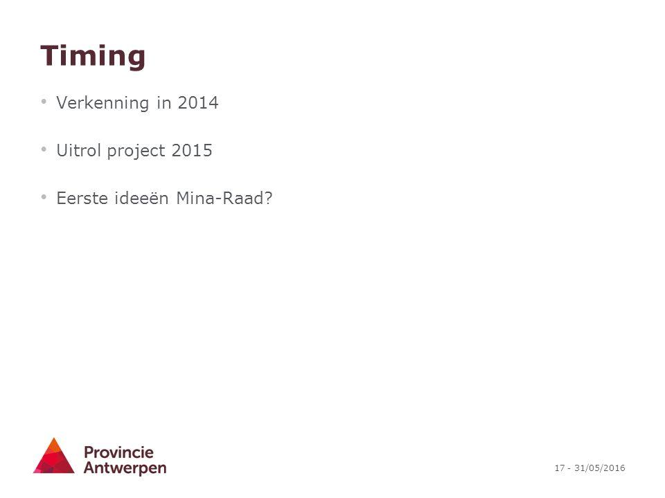 17 - 31/05/2016 Timing Verkenning in 2014 Uitrol project 2015 Eerste ideeën Mina-Raad?
