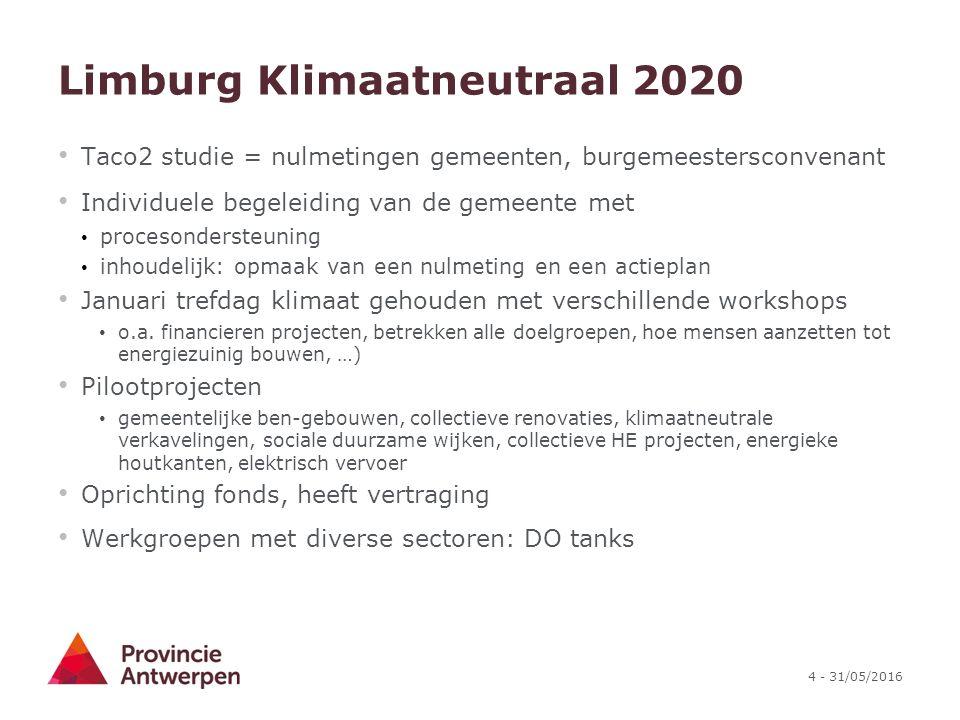 4 - 31/05/2016 Limburg Klimaatneutraal 2020 Taco2 studie = nulmetingen gemeenten, burgemeestersconvenant Individuele begeleiding van de gemeente met p
