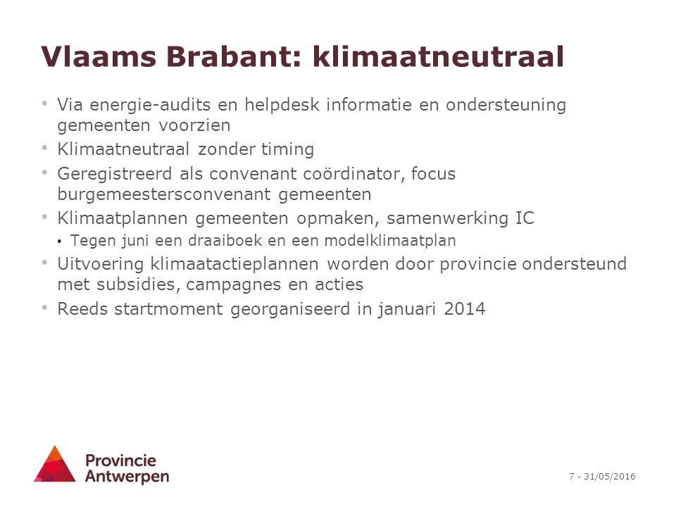 7 - 31/05/2016 Vlaams Brabant: klimaatneutraal Via energie-audits en helpdesk informatie en ondersteuning gemeenten voorzien Klimaatneutraal zonder ti
