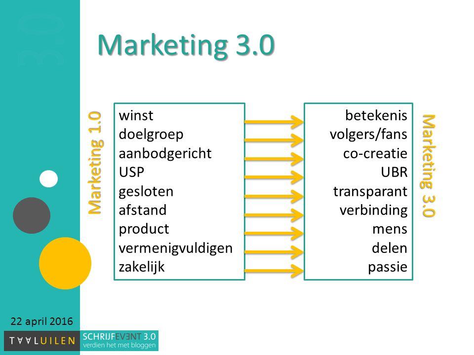 Marketing 3.0 22 april 2016 winst doelgroep aanbodgericht USP gesloten afstand product vermenigvuldigen zakelijk betekenis volgers/fans co-creatie UBR transparant verbinding mens delen passie Marketing 1.0 Marketing 3.0