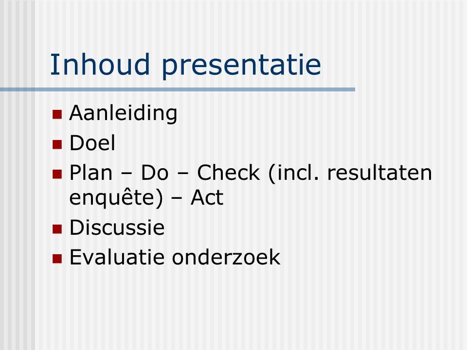 Inhoud presentatie Aanleiding Doel Plan – Do – Check (incl.