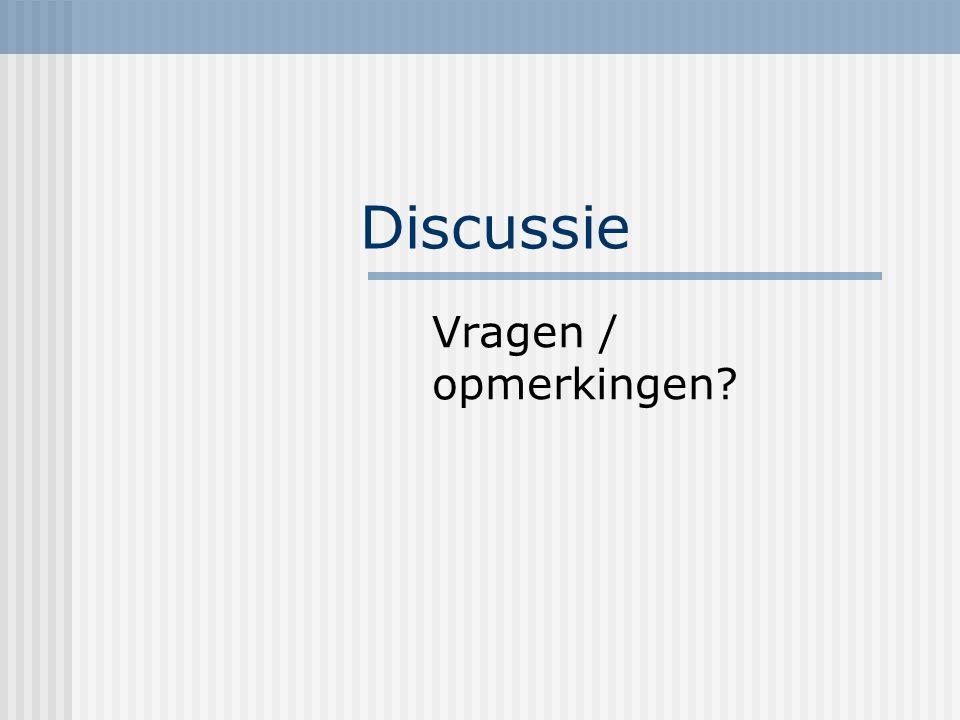 Discussie Vragen / opmerkingen