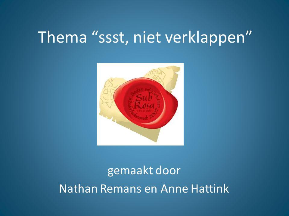 """Thema """"ssst, niet verklappen"""" gemaakt door Nathan Remans en Anne Hattink"""