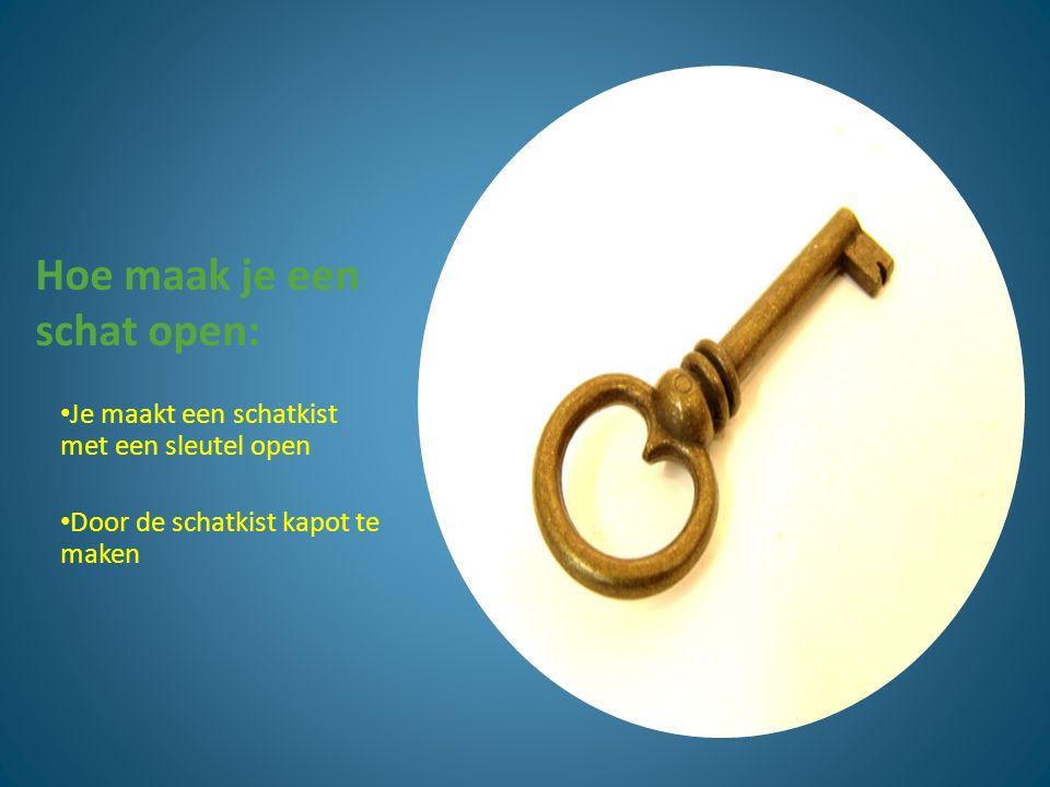 Hoe maak je een schat open: Je maakt een schatkist met een sleutel open Door de schatkist kapot te maken