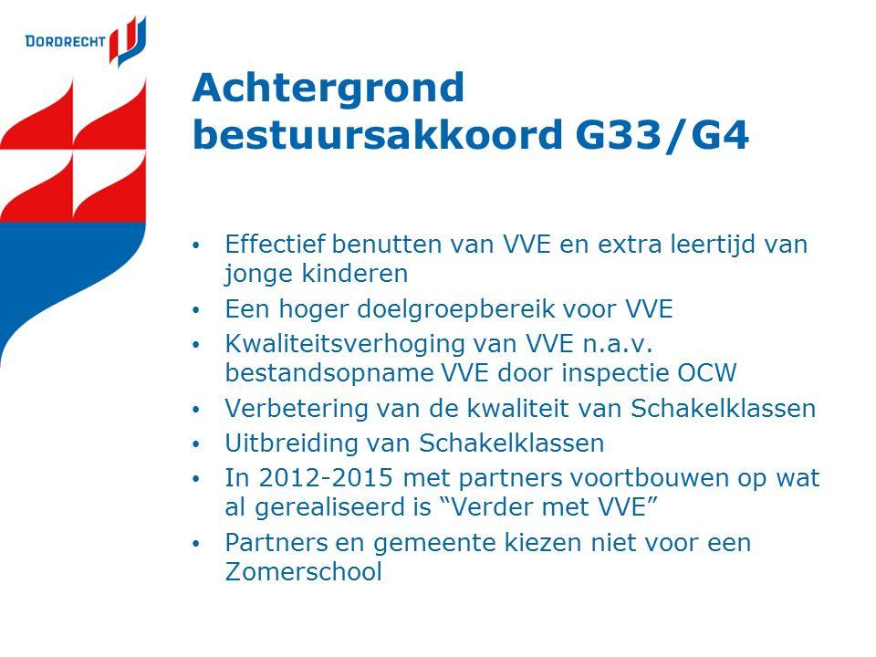Achtergrond bestuursakkoord G33/G4 Effectief benutten van VVE en extra leertijd van jonge kinderen Een hoger doelgroepbereik voor VVE Kwaliteitsverhog