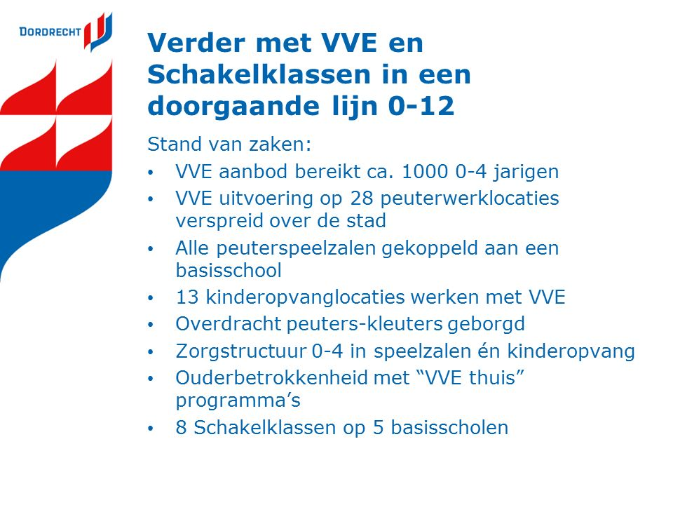 Verder met VVE en Schakelklassen in een doorgaande lijn 0-12 Stand van zaken: VVE aanbod bereikt ca. 1000 0-4 jarigen VVE uitvoering op 28 peuterwerkl