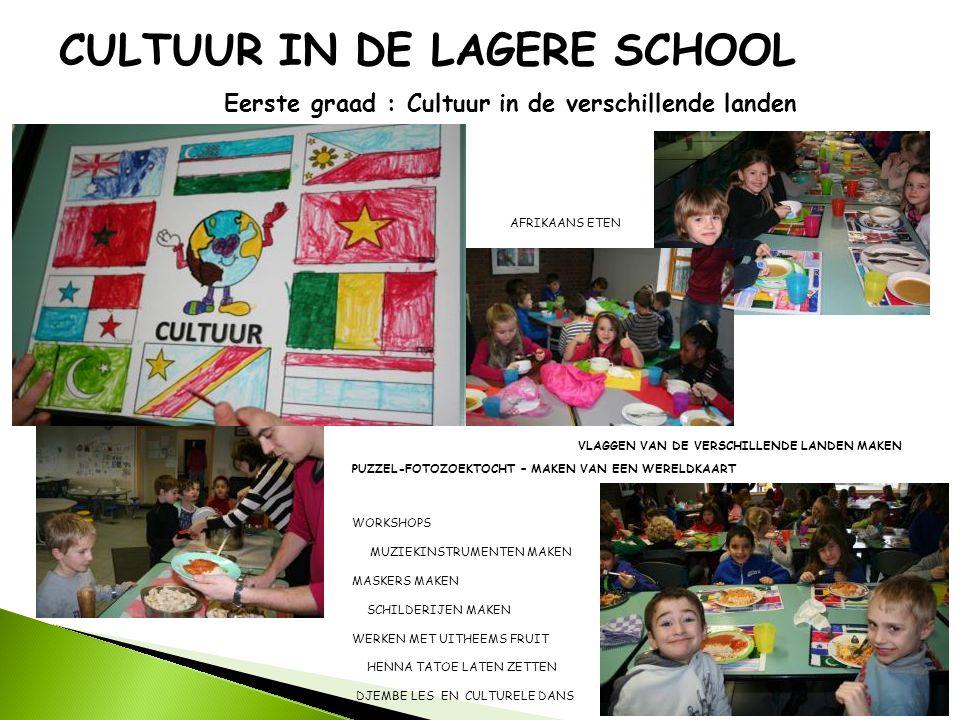 CULTUUR IN DE LAGERE SCHOOL Eerste graad : Cultuur in de verschillende landen PUZZEL-FOTOZOEKTOCHT – MAKEN VAN EEN WERELDKAART VLAGGEN VAN DE VERSCHIL