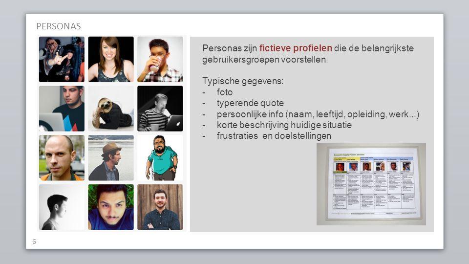 6 Personas zijn fictieve profielen die de belangrijkste gebruikersgroepen voorstellen.