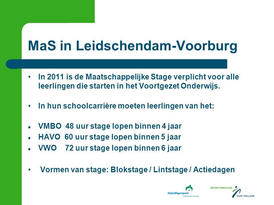 MaS in Leidschendam-Voorburg In 2011 is de Maatschappelijke Stage verplicht voor alle leerlingen die starten in het Voortgezet Onderwijs.