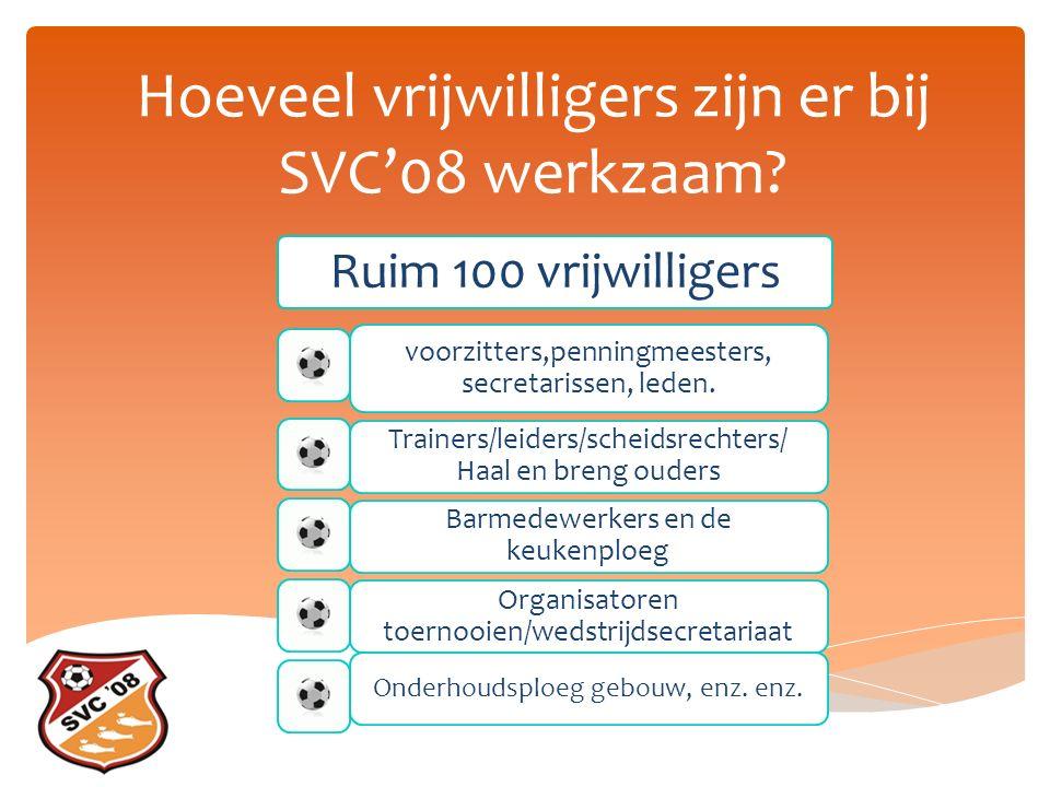 Hoeveel vrijwilligers zijn er bij SVC'08 werkzaam.